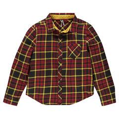 Junior - Chemise manches longues en flanelle à carreaux