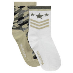 Σετ με 2 ζευγάρια κάλτσες σε στρατιωτικό στυλ.