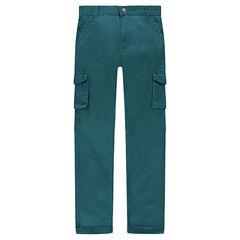 Παιδικά - Πράσινο παντελόνι μονόχρωμο από ύφασμα τουίλ με τσέπες
