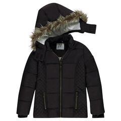 Παιδικά - Καπιτονέ μπουφάν με αφαιρούμενη κουκούλα και επένδυση φλις