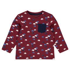 Μακρυμάνικη μπλούζα με διάσπαρτο σχέδιο βίσονες