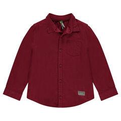 Μακρυμάνικο πουκάμισο μπορντό με τσέπη