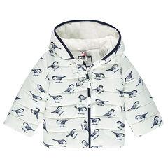 Αμάνικο καπιτονέ μπουφάν με μοτίβο πουλάκια και αφαιρούμενη κουκούλα