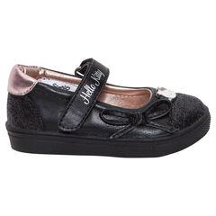 Μαλακά παπουτσάκια μαύρα με παγιέτες Hello Kitty