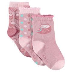 Σετ με 3 ζευγάρια κάλτσες με τύπωμα κουκουβάγια
