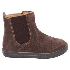 Χαμηλές μπότες από σουέτ δέρμα, με φερμουάρ και λάστιχο