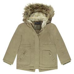 Παρκά μακρύ αδιάβροχο με επένδυση φλις, κουκούλα και συνθετική γούνα