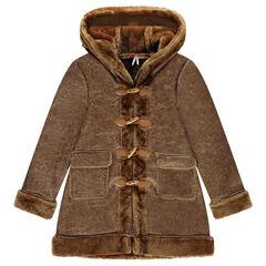 Παιδικά - Μακρύ παλτό σε σουέτ υφή με συνθετική γούνα