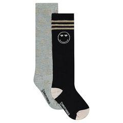 Σετ 2 ζευγάρια ψηλές κάλτσες με μοτίβο ©Smiley από lurex