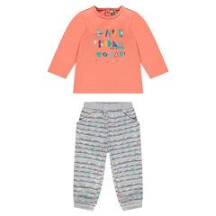 Σύνολο μπλούζα με στάμπα και παντελόνι φανελένιο με σχέδια