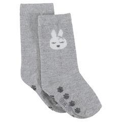 Αντιολισθητικές ψηλές κάλτσες με στάμπα λαγός