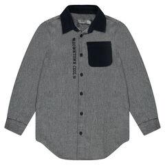 Παιδικά - Φανελένιο πουκάμισο με μπαλώματα στους αγκώνες