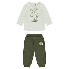 Σύνολο μπλούζα με τύπωμα και βελούδινο χακί παντελόνι ©Smiley