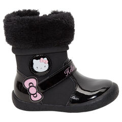 Μαύρα μποτάκια λουστρίνι Hello Kitty με συνθετική γούνα στο άνοιγμα