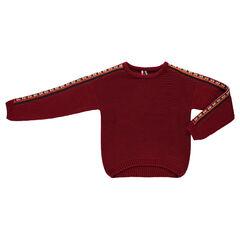 Παιδικά - Φαρδύ πλεκτό με χοντρή πλέξη και κεντήματα