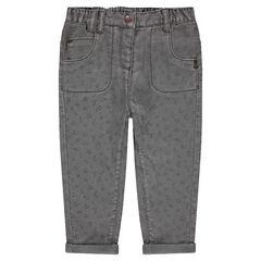 Εμπριμέ βαμβακερό παντελόνι με ζέρσεϊ επένδυση
