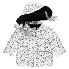 Φουσκωτό μπουφάν με επένδυση σέρπα με αφαιρούμενη κουκούλα και ψεύτικη γούνα