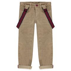 Βελούδινο παντελόνι με ριγέ αφαιρούμενες τιράντες