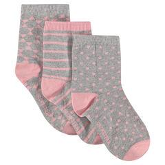 Σετ με 3 ζευγάρια εμπριμέ κάλτσες