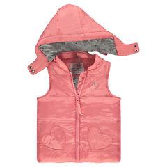 Αμάνικο μπουφάν με αφαιρούμενη κουκούλα και τσέπες σε σχήμα καρδιάς
