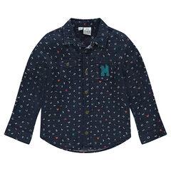 Μακρυμάνικο πουκάμισο με μοτίβο με τον Μίκυ.