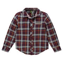 """Chemise manches longues à carreaux """"clan"""" avec poche et détails en oxford"""