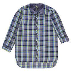 Μακρυμάνικο καρό πουκάμισο με στρογγυλεμένες άκρες