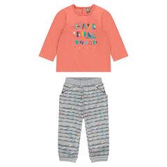 Σύνολο μακρυμάνικη μπλούζα με τύπωμα και εμπριμέ παντελόνι