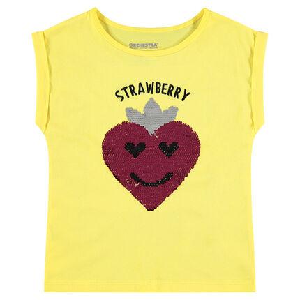 Κοντομάνικη κίτρινη μπλούζα με φράουλα από «μαγικές» πούλιες