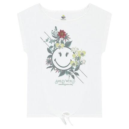 Κοντομάνικη μπλούζα που δένει μπροστά με στάμπα ©Smiley