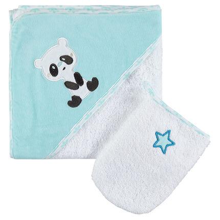 Σετ μπάνιου πετσετέ με κεντημένο πάντα και αστεράκι