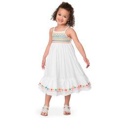 Μακρύ φόρεμα με λεπτές τιράντες και κεντήματα