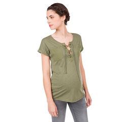 Χακί μπλούζα εγκυμοσύνης με φαντεζί λαιμόκοψη