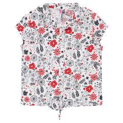 Κοντομάνικο πουκάμισο με λουλούδια σε αντίθεση