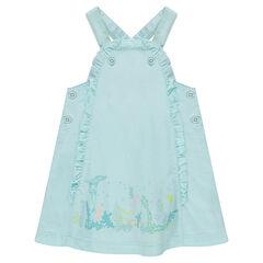 Βαμβακερό φόρεμα με τύπωμα μπροστά και βολάν