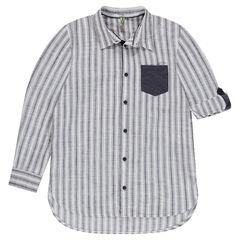 Παιδικά - Μακρυμάνικο ριγέ πουκάμισο με τσέπη με διακοσμητικό σχέδιο