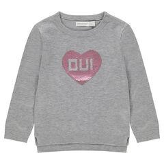 Πλεκτό πουλόβερ σε γκρι μελανζέ με καρδούλα από «μαγικές» πούλιες
