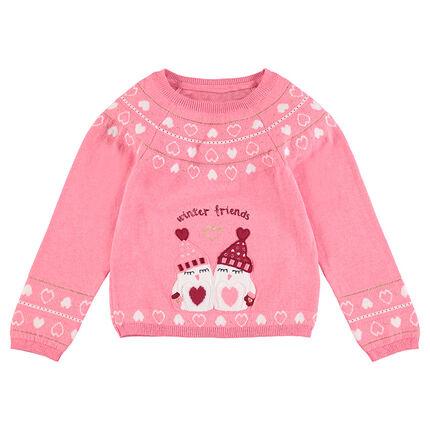 Πλεκτό πουλόβερ με ζακάρ καρδούλες και κεντημένοι πιγκουίνοι