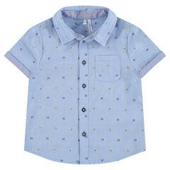 Μακρυμάνικο πουκάμιοσ με μικρό ζακάρ μοτίβο σε όλη την επιφάνεια