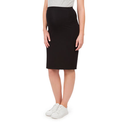 Ψηλόμεση φούστα εγκυμοσύνης κάτω από το γόνατο με ύφανση milano