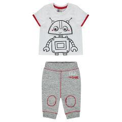 Σύνολο κοντομάνικη μπλούζα με στάμπα ρομπότ και παντελόνι από φανέλα