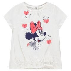 Κοντομάνικη ζέρσεϊ μπλούζα με στάμπα τη Minnie της ©Disney και ανάγλυφες καρδούλες