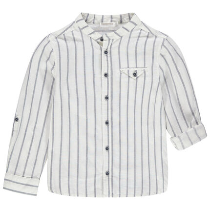 Chemise manches longues à rayures verticales et col mao