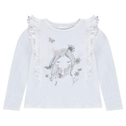 Μακρυμάνικη μπλούζα με βολάν και τυπωμένη κούκλα