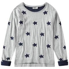 Πλεκτό πουλόβερ ζακάρ με αστέρια