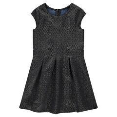 Παιδικά - Κοντομάνικο φόρεμα με ζακάρ μοτίβο με χρυσαφί ίνες για μελανζέ όψη