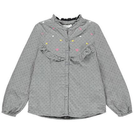 Μακρυμάνικο πουκάμισο με πουά και βολάν