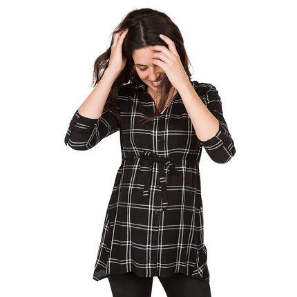 Μακρυμάνικο πουκάμισο εγκυμοσύνης με μεγάλα καρό