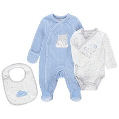 Σύνολο για νεογέννητα σε μπλε και λευκό με βελουτέ φορμάκι ύπνου, μακρυμάνικο κορμάκι και σαλιάρα