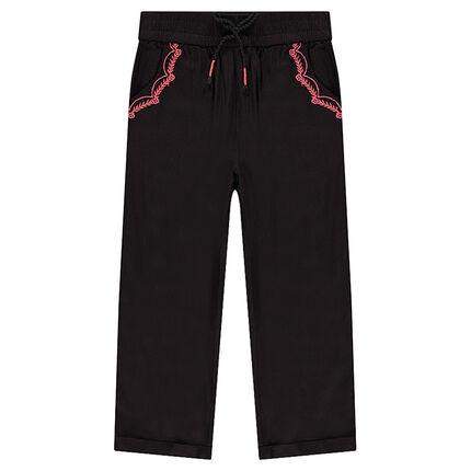 Παντελόνι slim από τουίλ ύφασμα με κερωμένη όψη